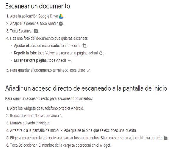 protocolo escaneo google drive