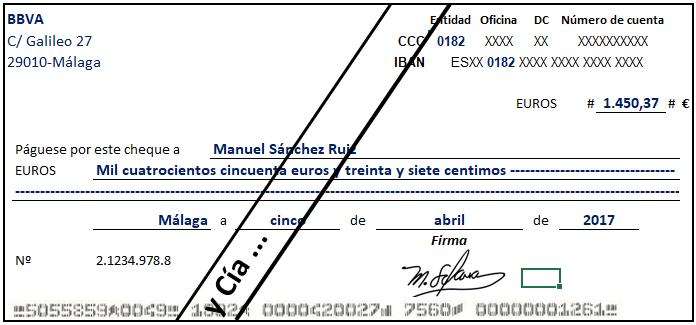 cheque cruzado general