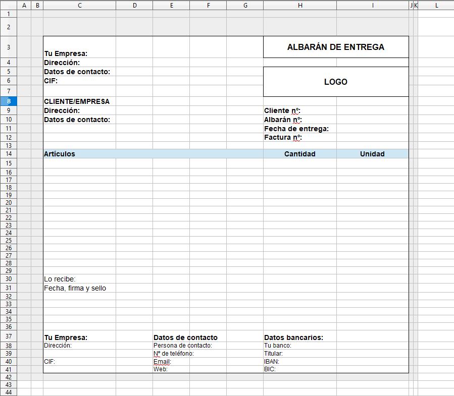Albarán de entrega Excel