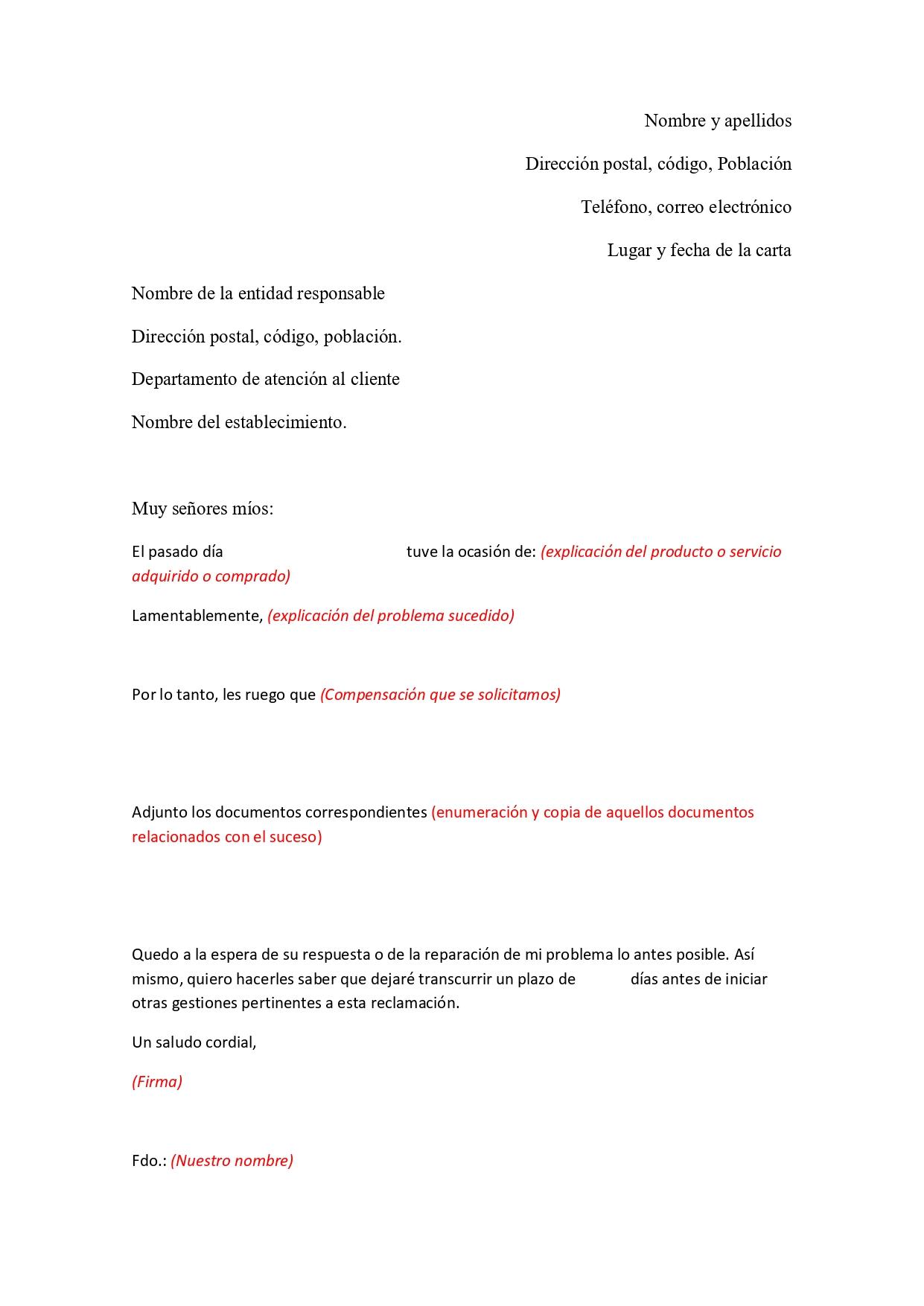 ejemplo carta reclamacion