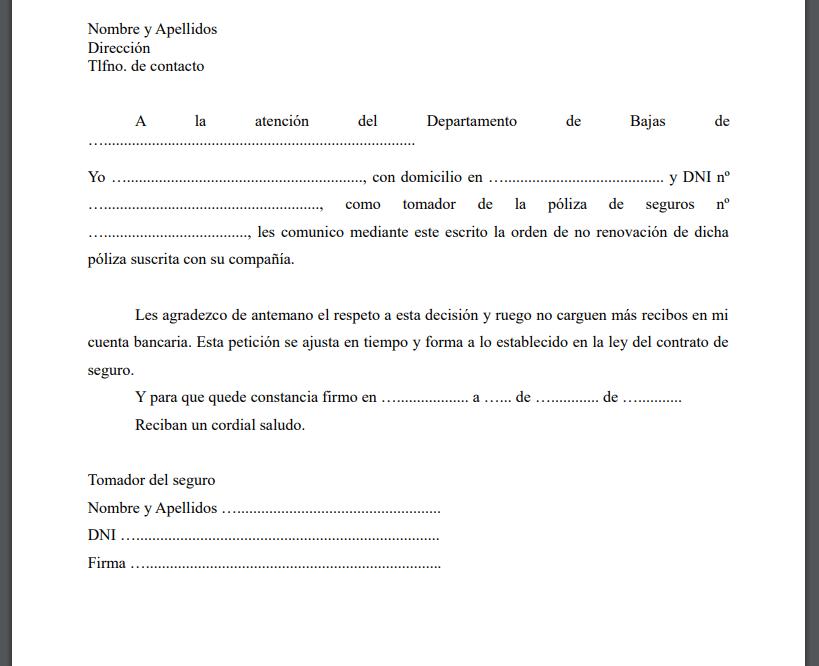 Ejemplo carta finalizacion seguro