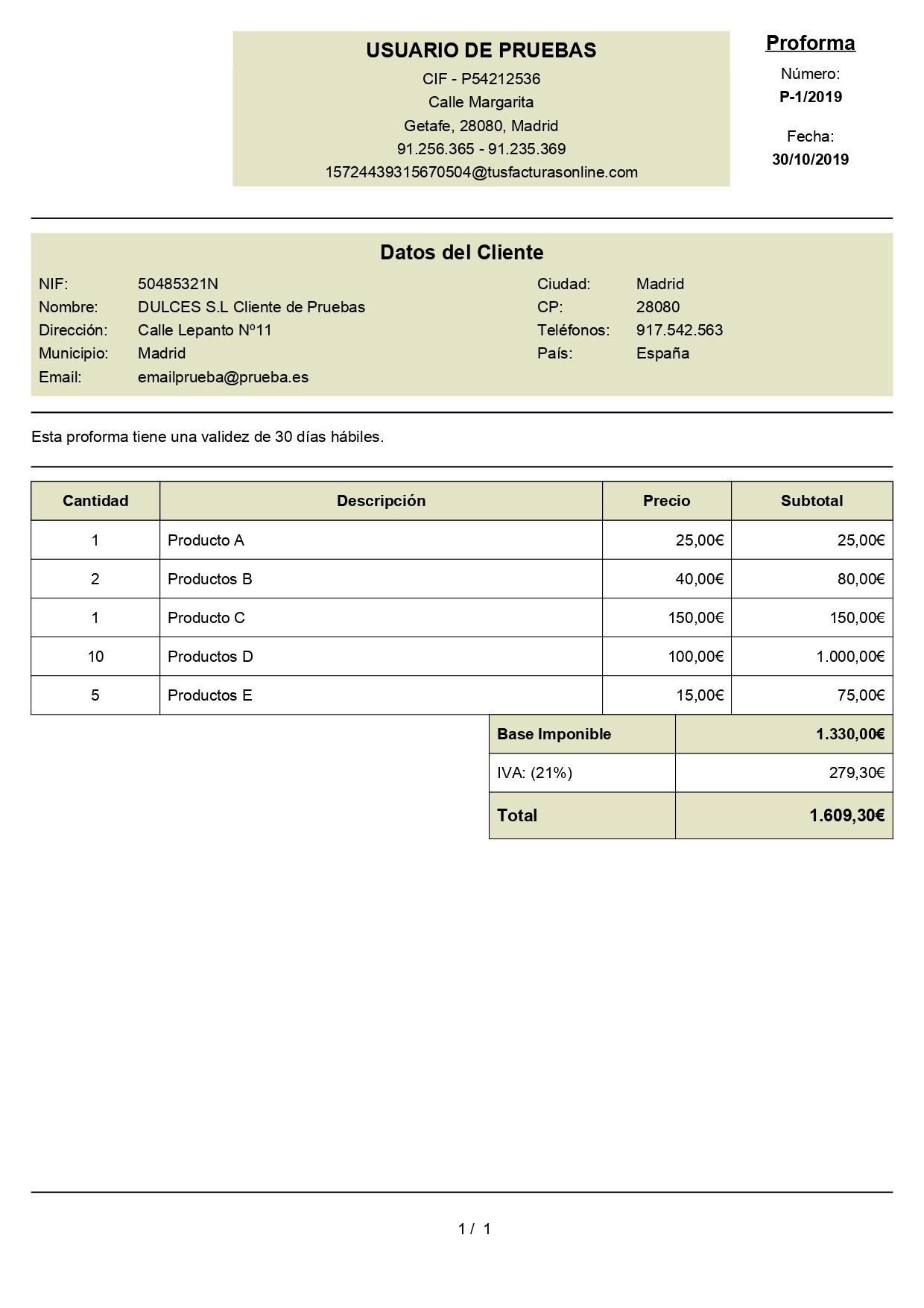 factura proforma