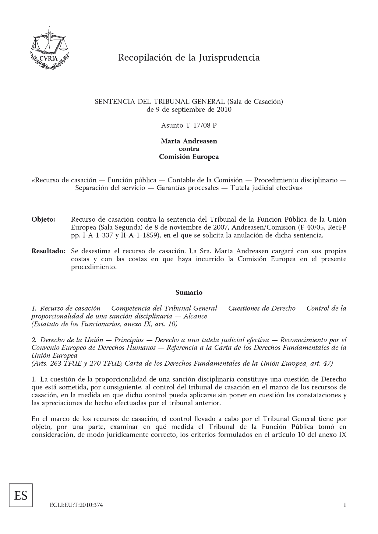 jurisprudencia denuncias irregularidades