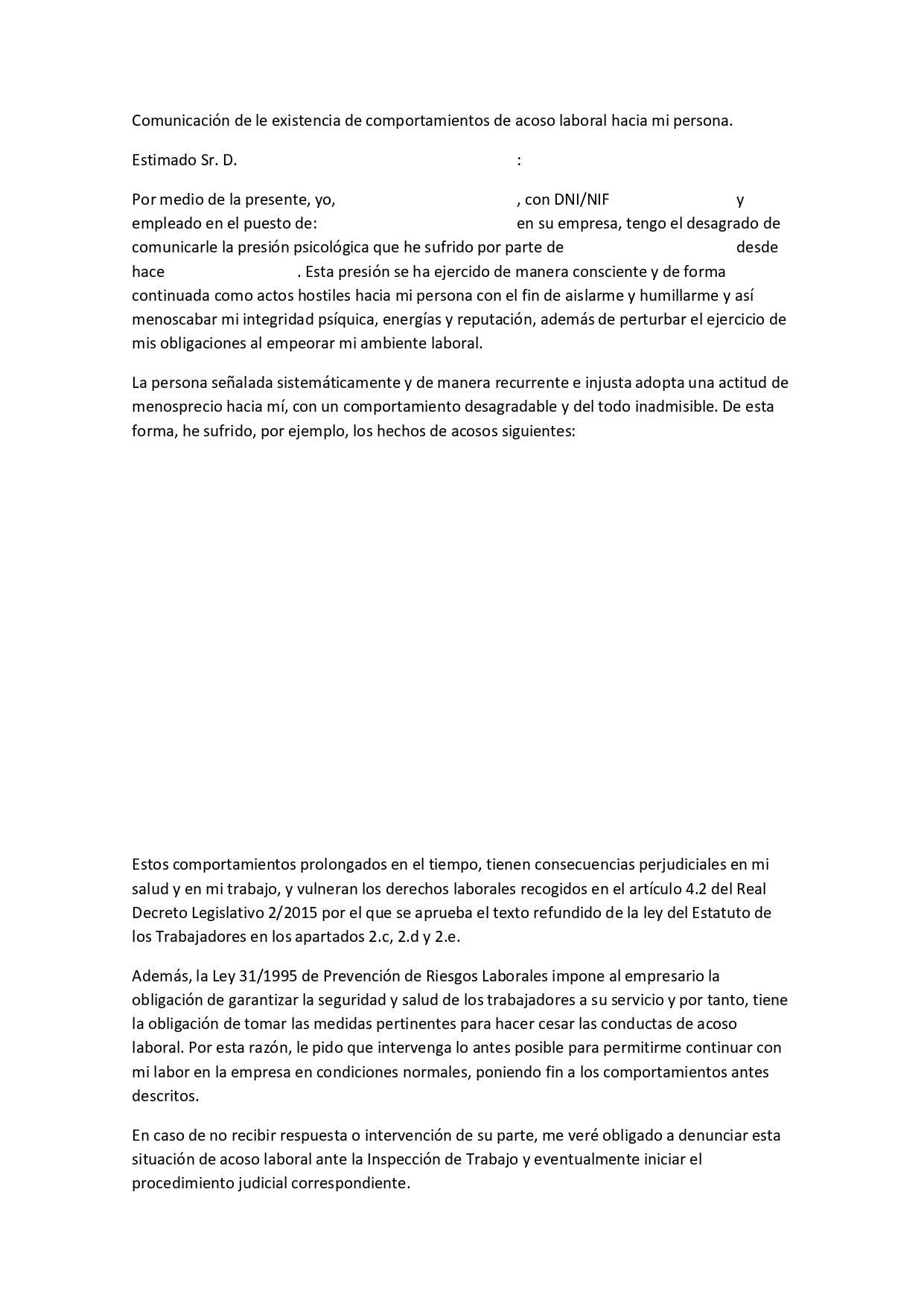 modelo carta comunicacion acoso laboral
