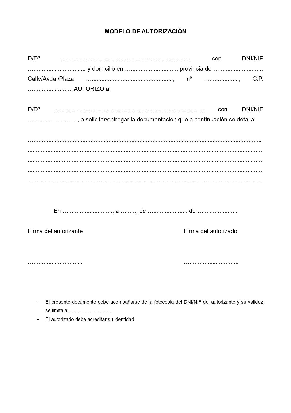 Modelo autorización de documentos