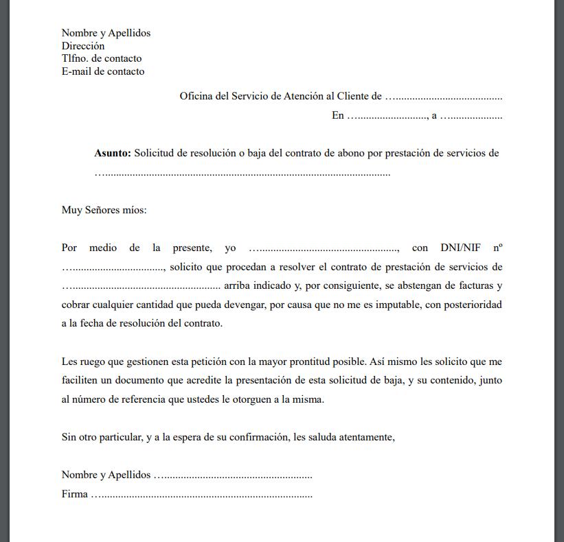 Modelo carta finalizacion contrato servicios