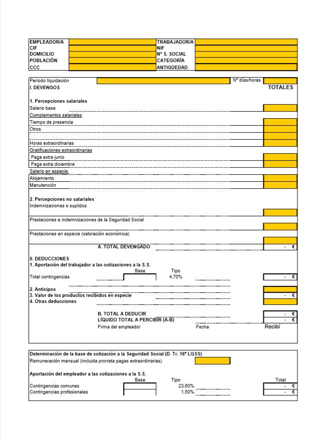 Modelo nomina empleada del hogar 2020