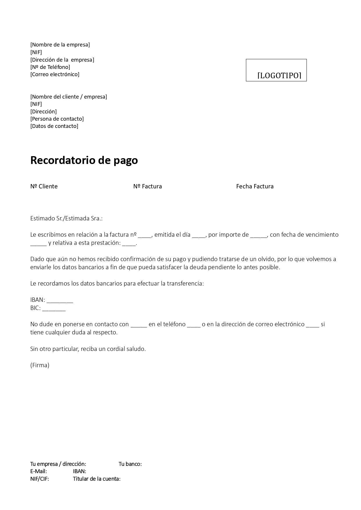 Carta de reclamacion de deudas