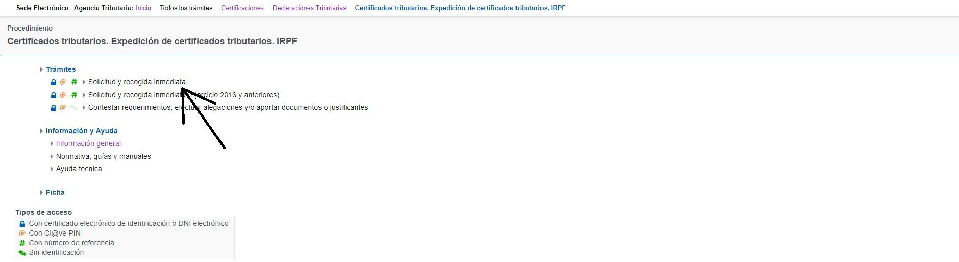 solicitud recogida inmediata certificados tributarios