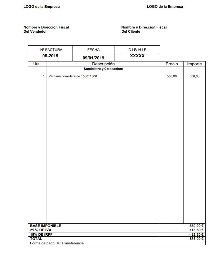 ejemplo factura con IRPF