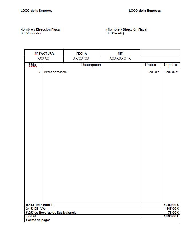 factura con recargo de equivalencia ejemplo