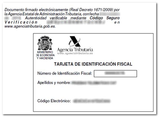 tarjeta identificacion fiscal