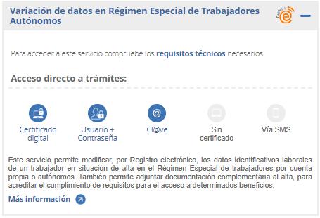 variacion de datos en regimen especial de trabajadores autonomos
