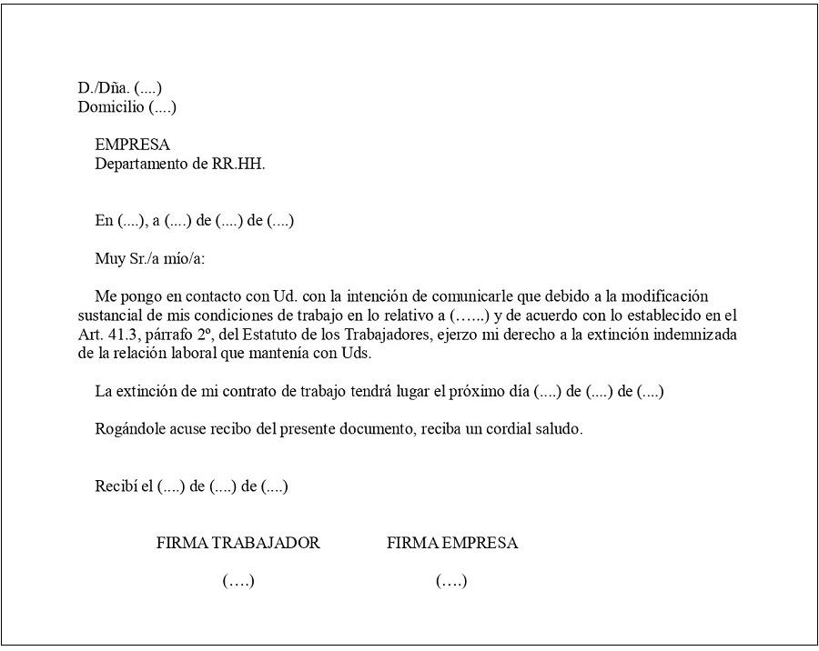 carta rechazo modificacion condiciones trabajo