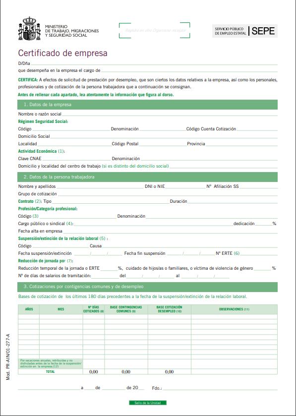 modelo certificado empresa paro