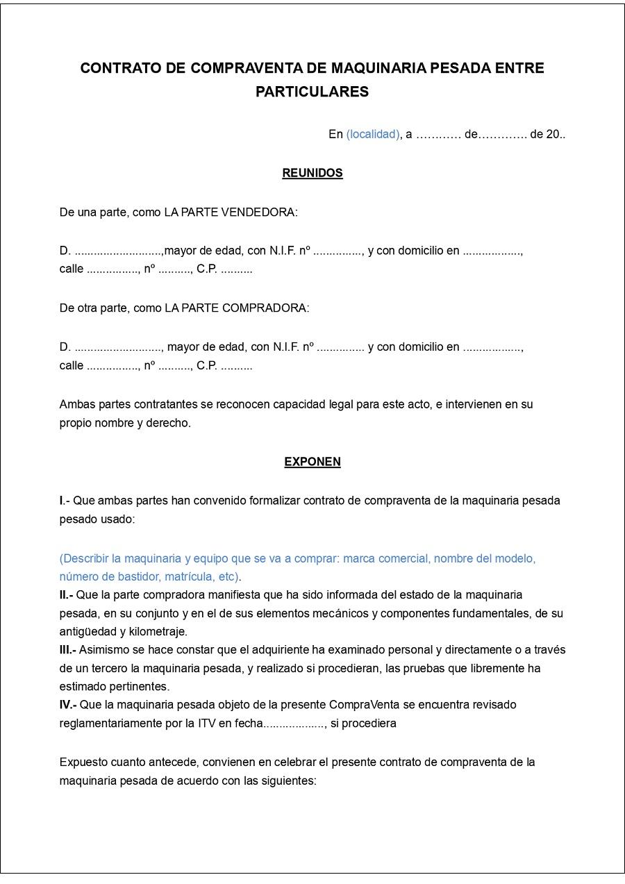 Modelo de contrato compraventa maquinaria