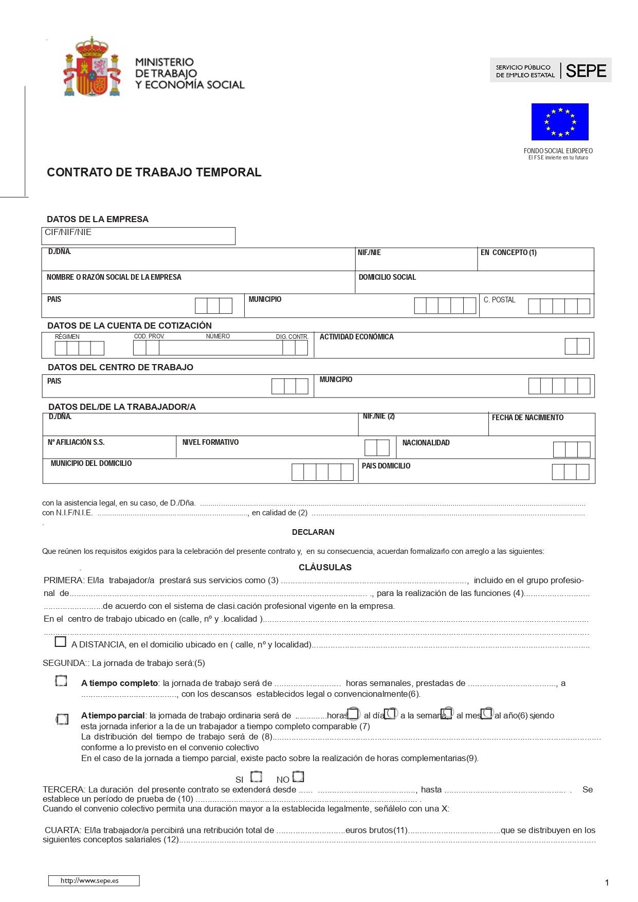 contrato trabajo temporal