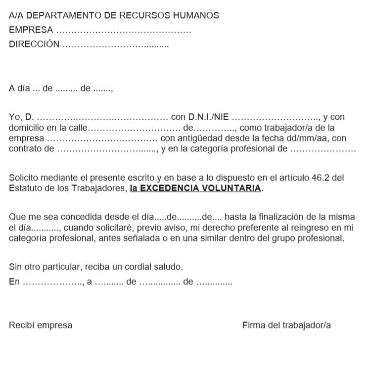 Carta de excedencia voluntaria