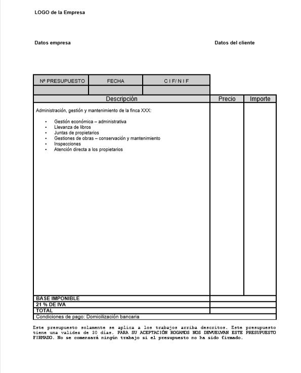 Modelo de presupuesto administración de fincas