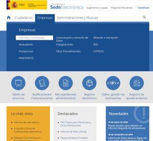 Web / Sede electrónica - Seguridad Social
