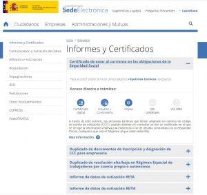 certificado de estar al corriente con la Seguridad Social