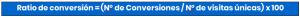 Fórmula mejorada ratio de conversión
