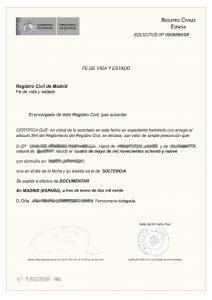 certificado de Fe de vida y estado