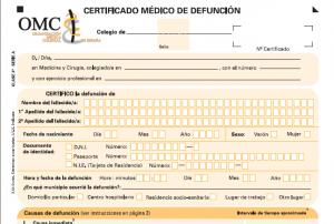 Ejemplo de certificado médico de defunción