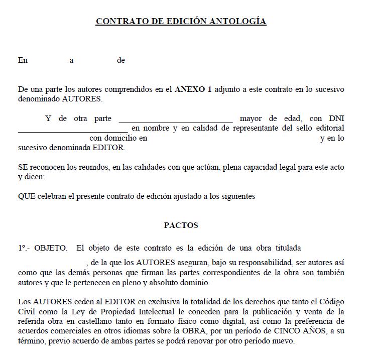 contrato de derechos de autor antología