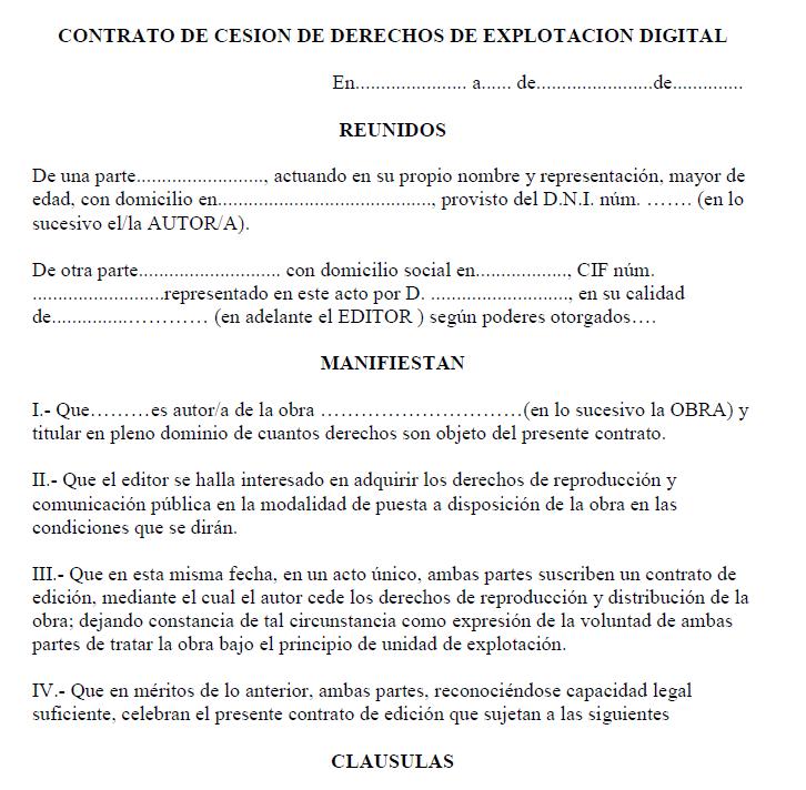 contrato de derechos de autor explotación digital
