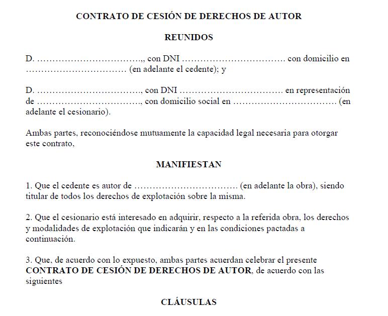 contrato de derechos de autor en blanco