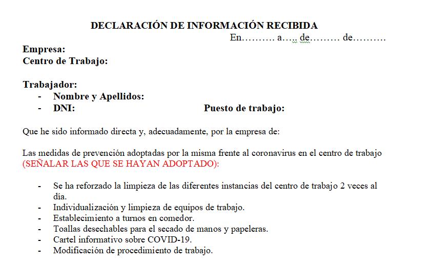 Declaración de información recibida por los trabajadores