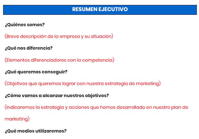 Plantilla resumen ejecutivo plan de marketing