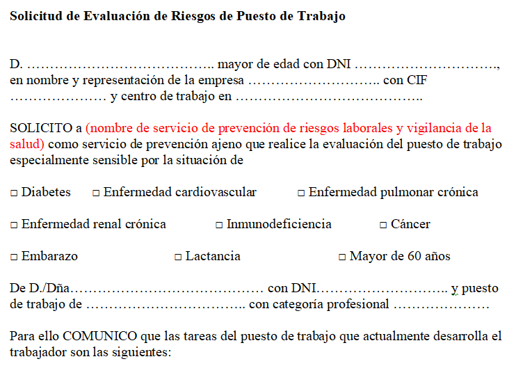 Modelo solicitud evaluación puesto trabajo para reincorporación al trabajo coronavirus