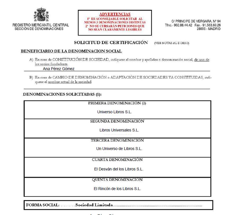 Ejemplo Certificación negativa de denominación social