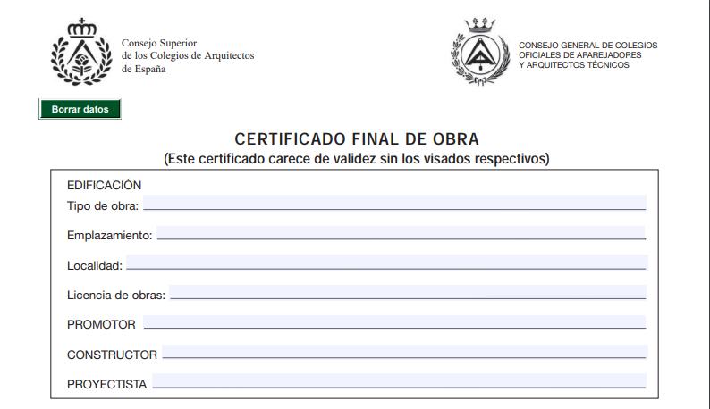 Certificado final de obra modelo