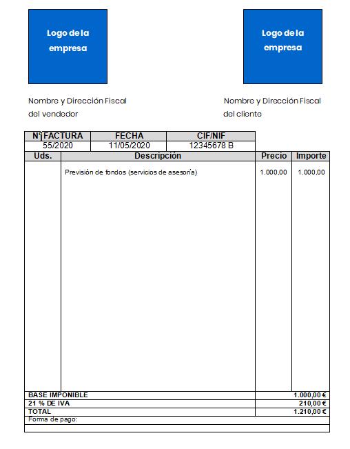Imagen Provisión de fondos factura ejemplo